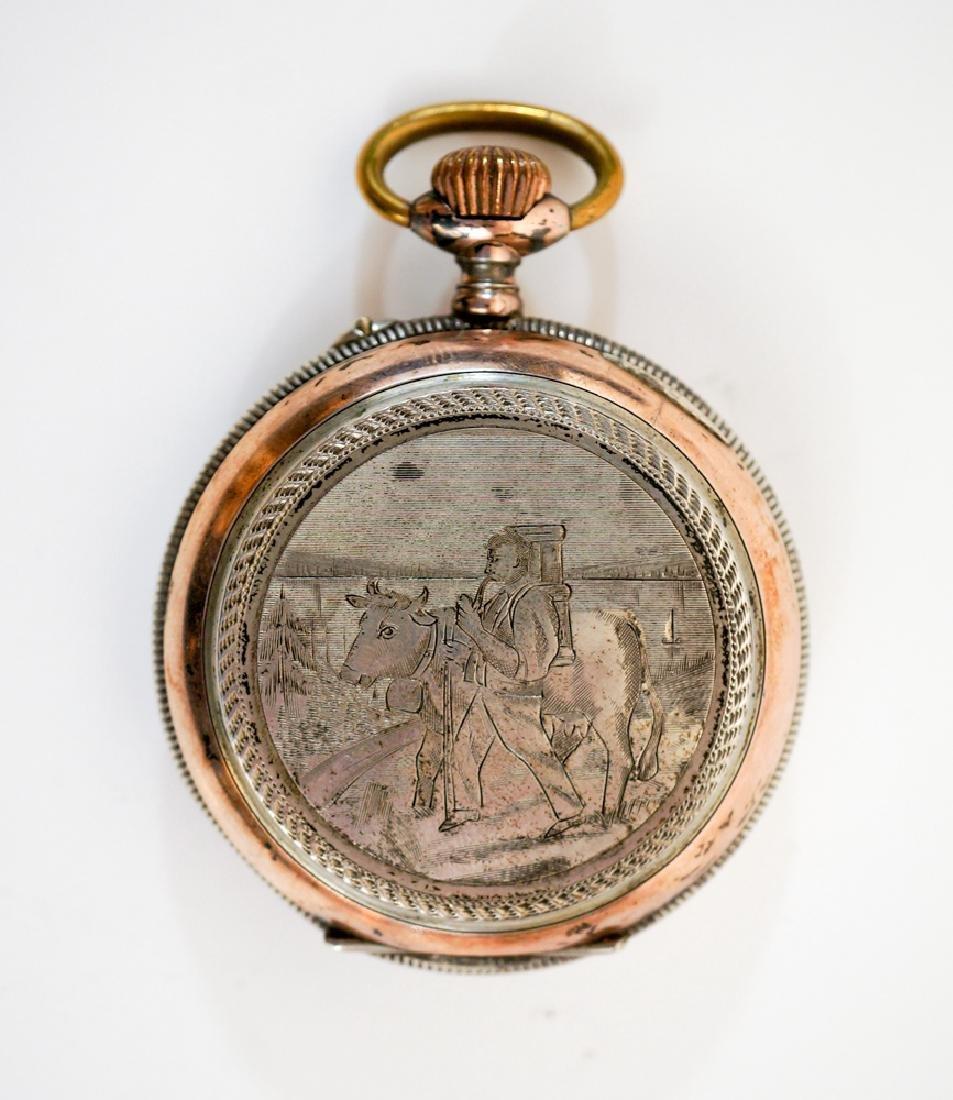 Swiss .800 Silver Pocket Watch Farmer's - 2
