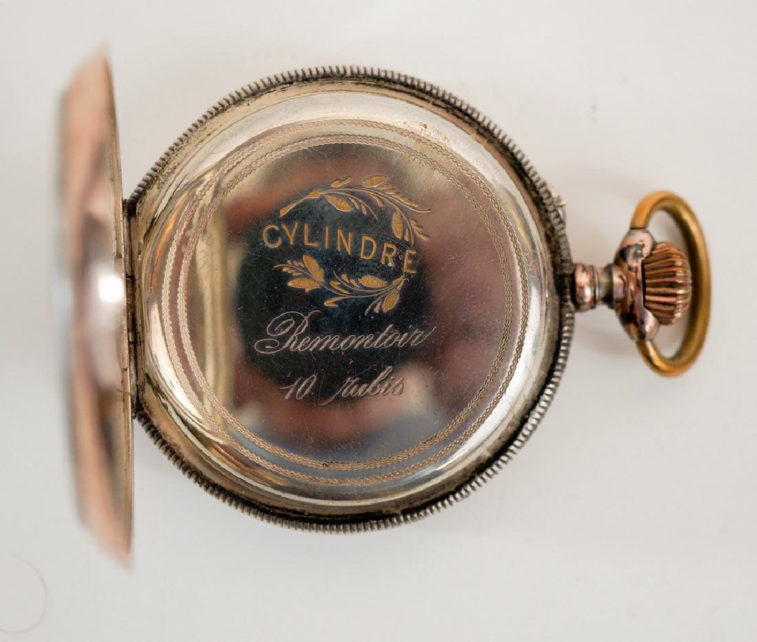 Swiss .800 Silver Pocket Watch Farmer's - 3