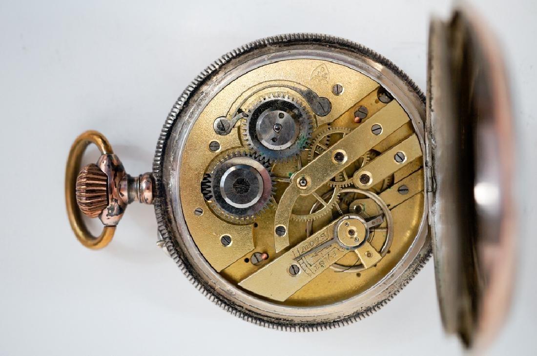 Swiss .800 Silver Pocket Watch Farmer's - 4