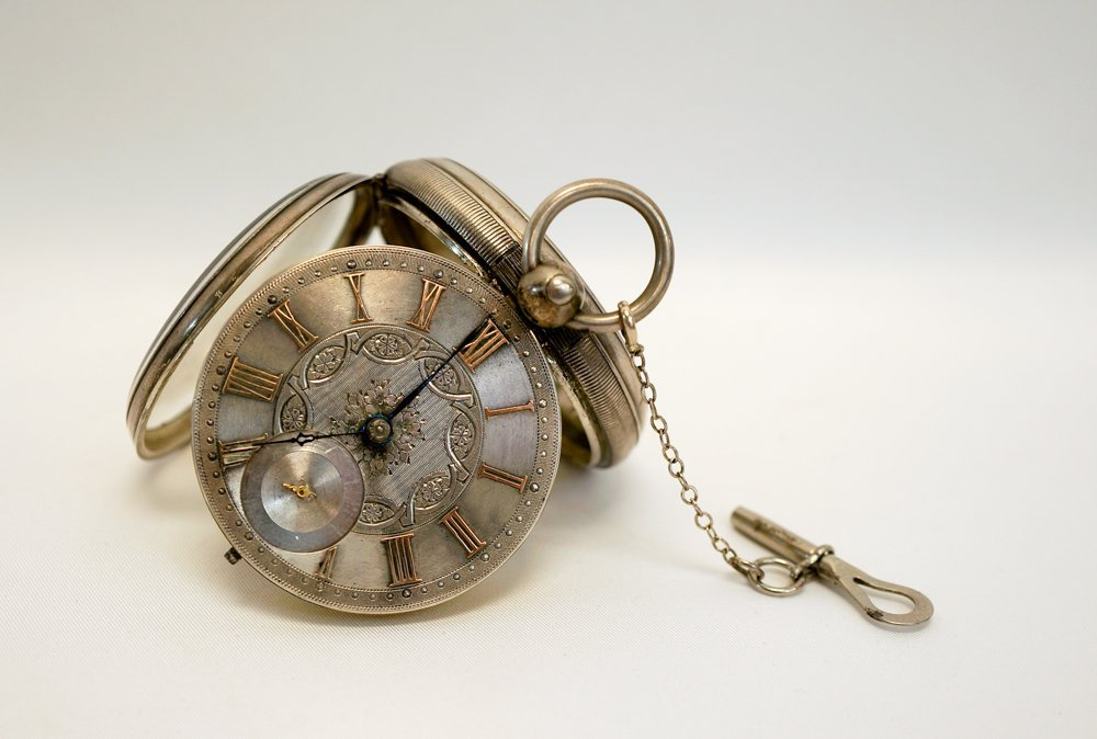 English Silver Spindle Pocket Watch, 1887
