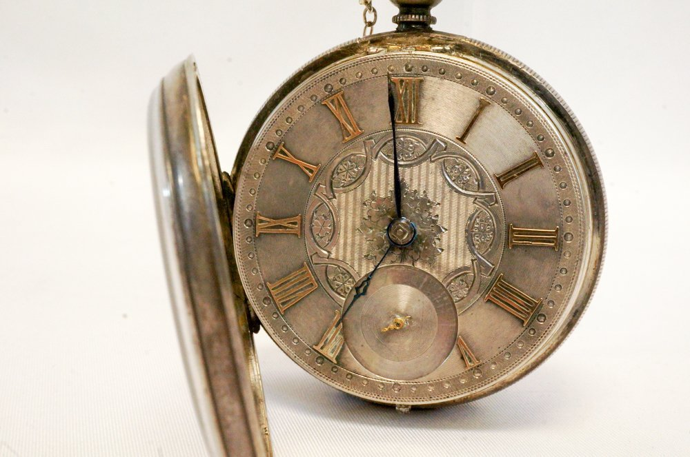 English Silver Spindle Pocket Watch, 1887 - 2