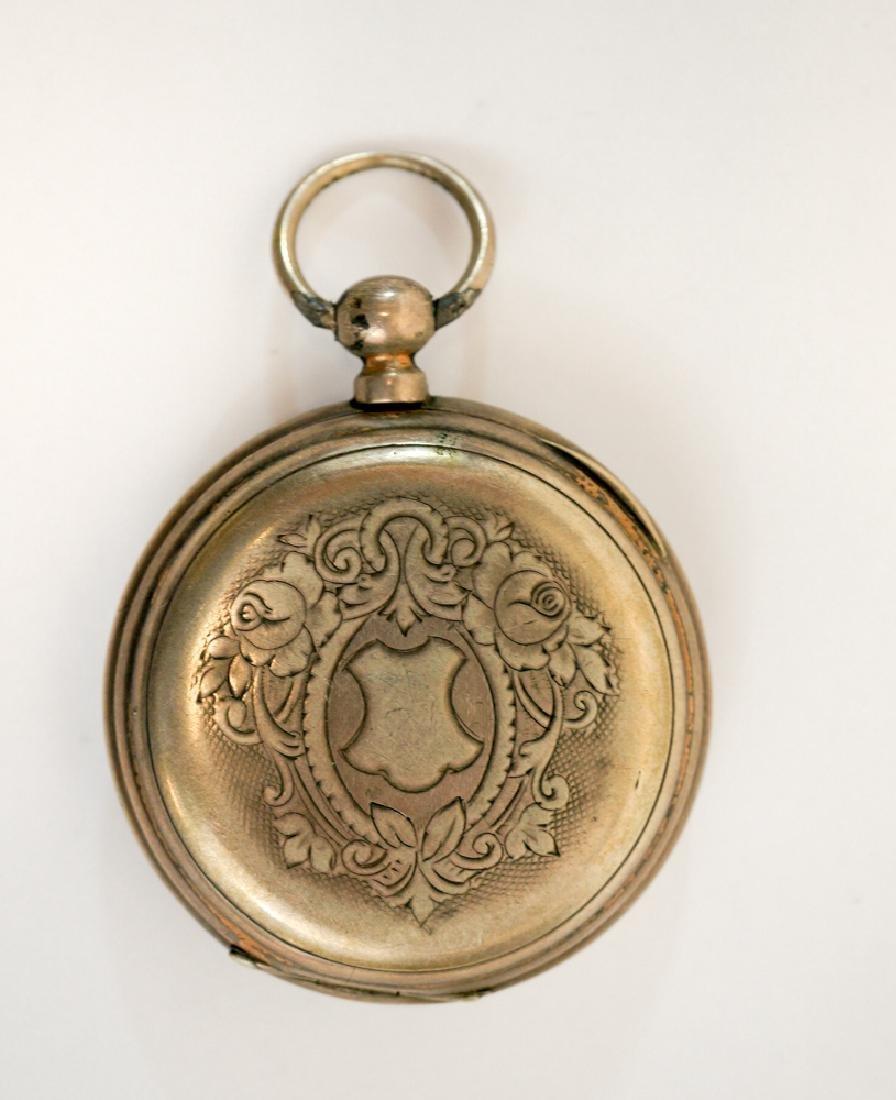 Antique Echappement .800 Silver Pocket Watch - 2