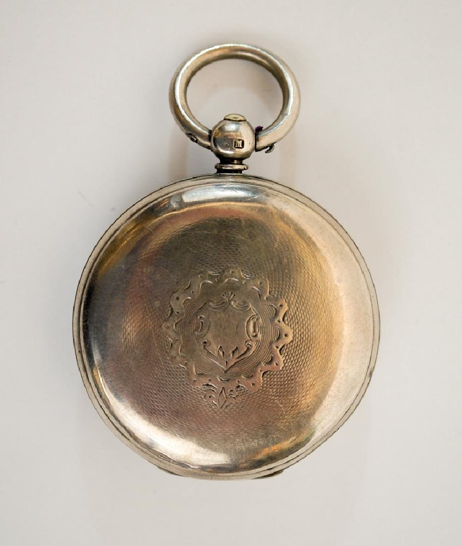 English Sterling Silver Fusee Pocket Watch - 6