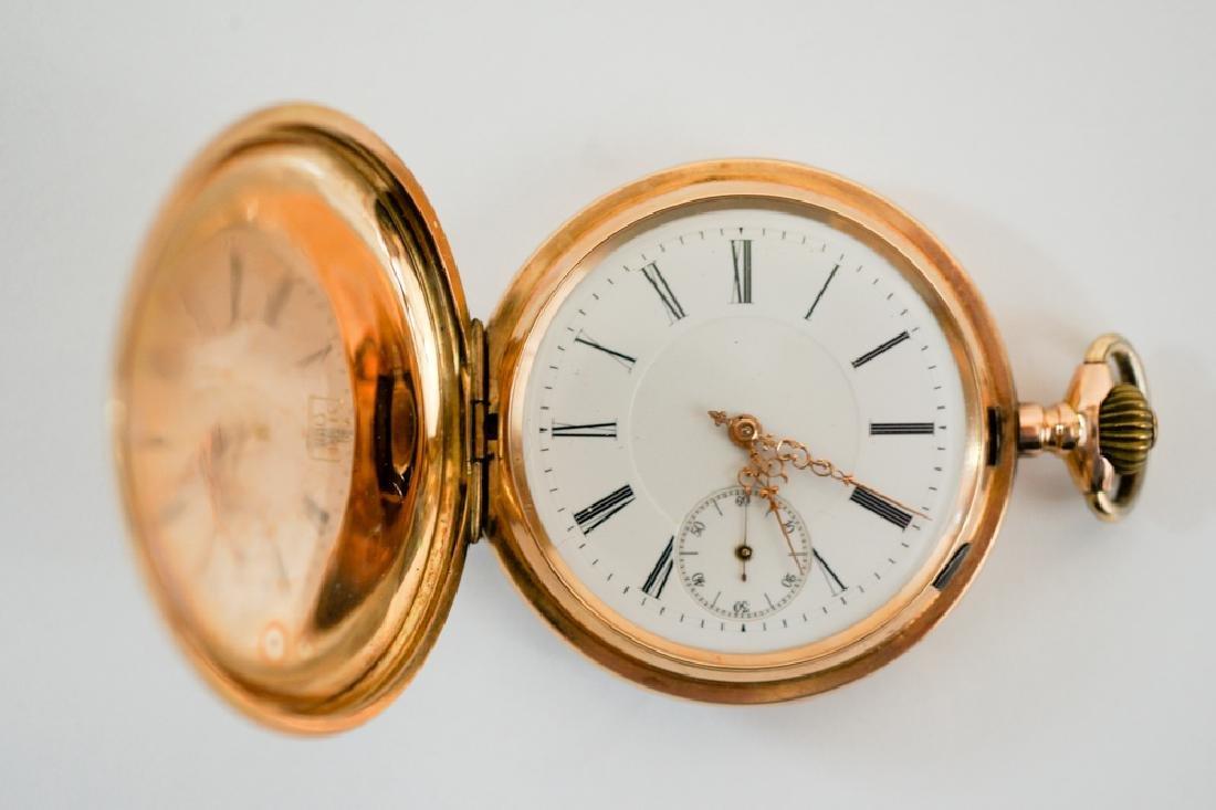 14K Gold Ancre Ligne Droite Pocket Watch