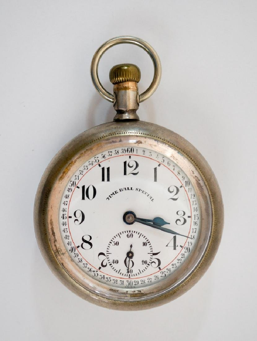 Antique Time Ball Special Railroad Watch Sterling