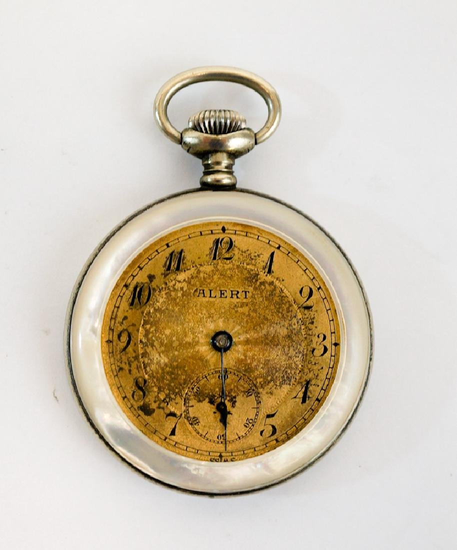 Antique Alert Mother of Pearl Open Faced Watch