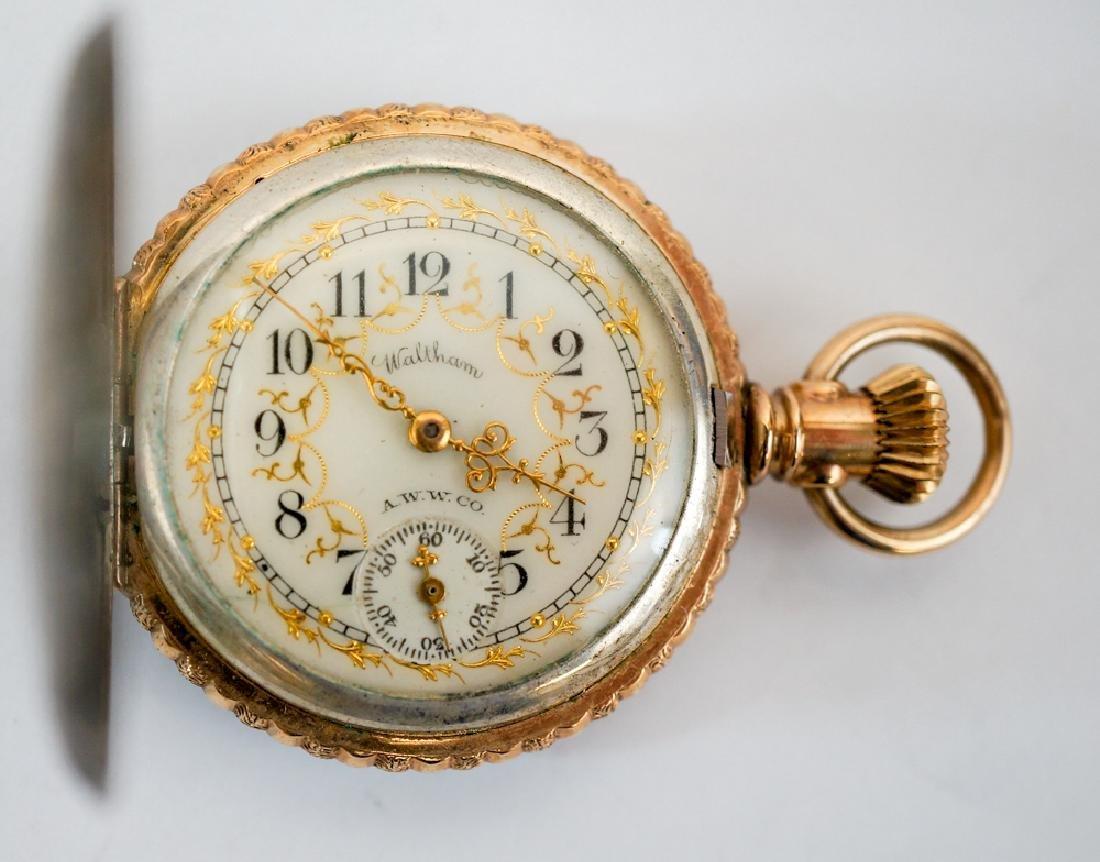 American Waltham Coin Silver Enamel Pocket Watch