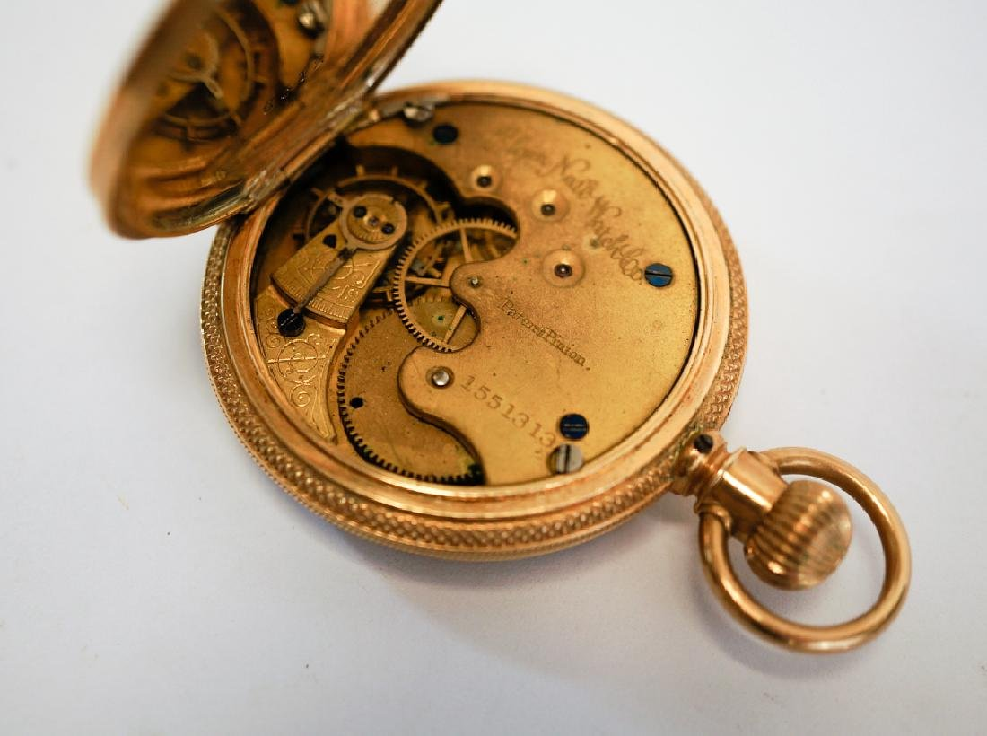 Elgin 14k Solid Gold Fancy Pocket Watch - 3