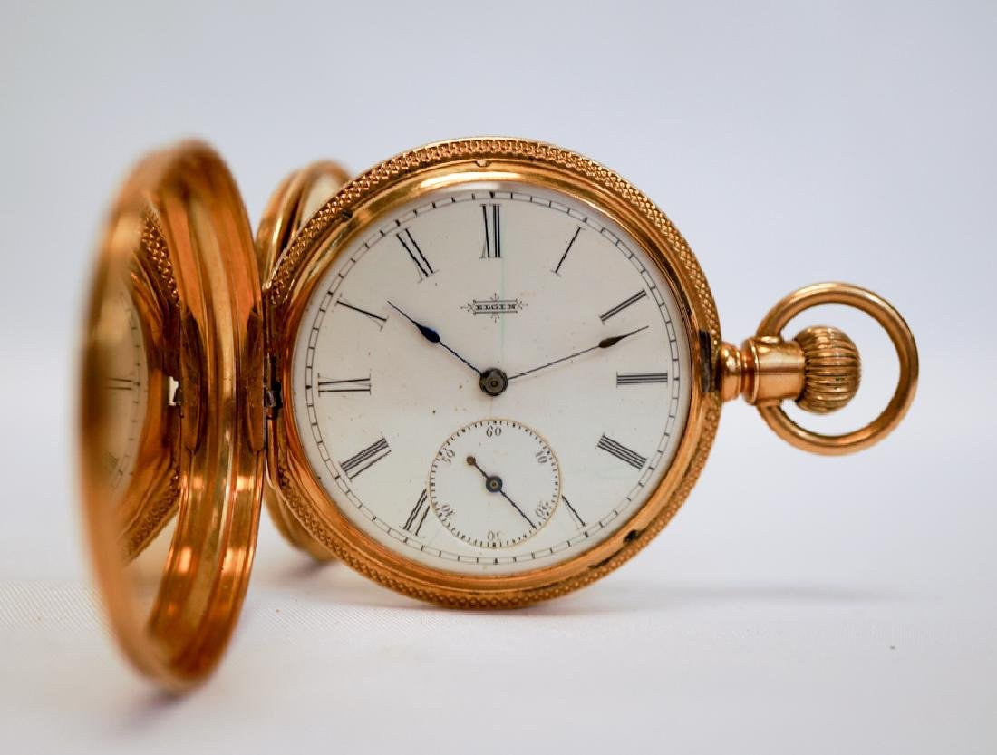 Elgin 14k Solid Gold Fancy Pocket Watch - 5