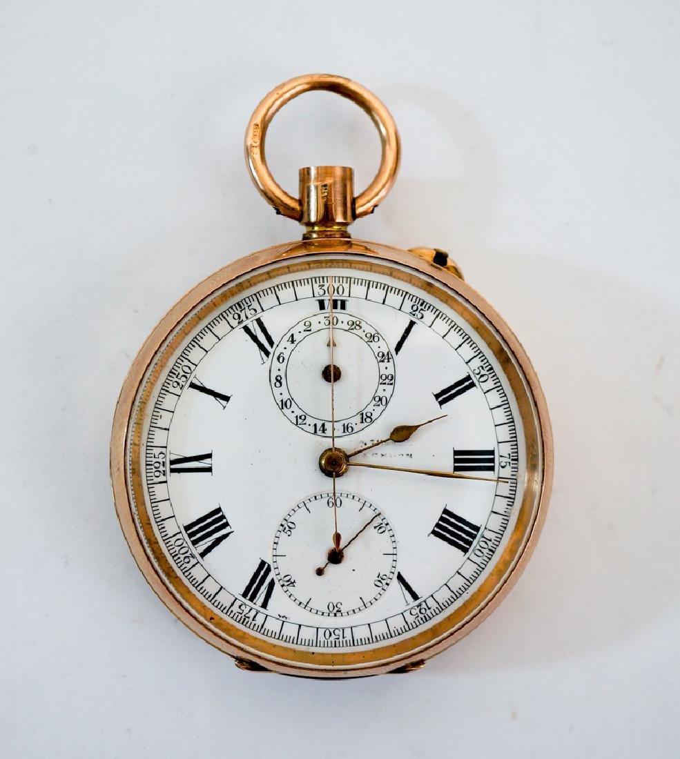 Swiss 9k Gold The Ascot Chronograph Pocket Watch