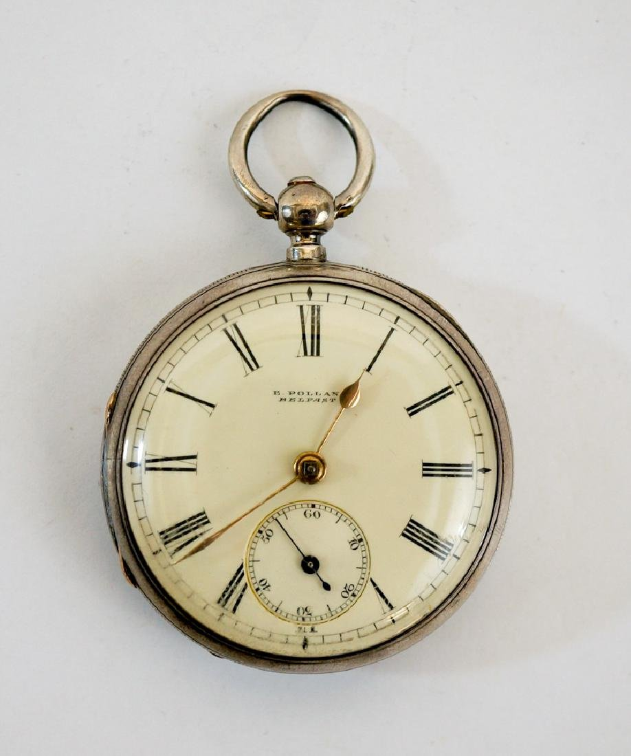 E. Polland Sterling Silver Pocket Watch