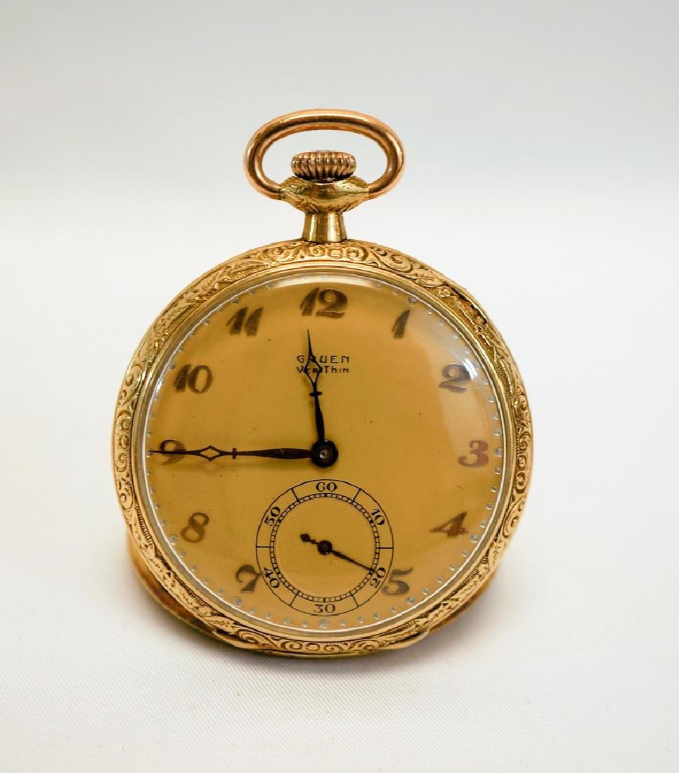 Gruen Verithin 14K Solid Gold Pocket Watch