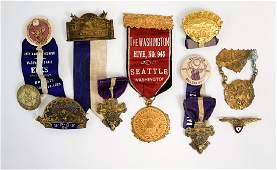 A Group of Antique Elks Fraternal Medals Buttons