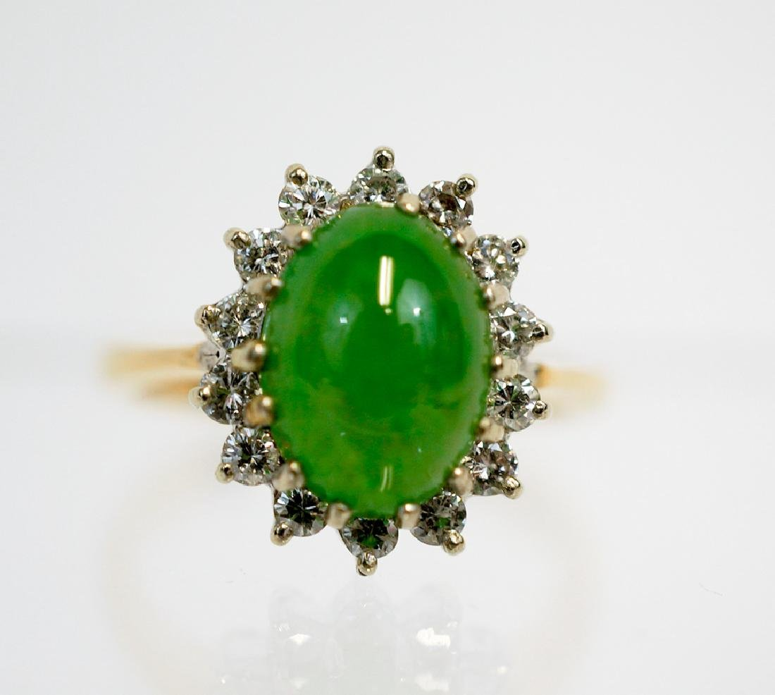 Ladies 14k Gold and Jade Ring
