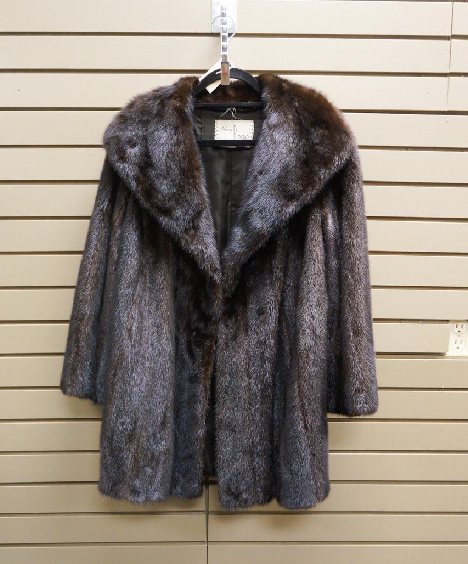 Ladies Alfred Boge Dark Brown Shadow Mink Coat