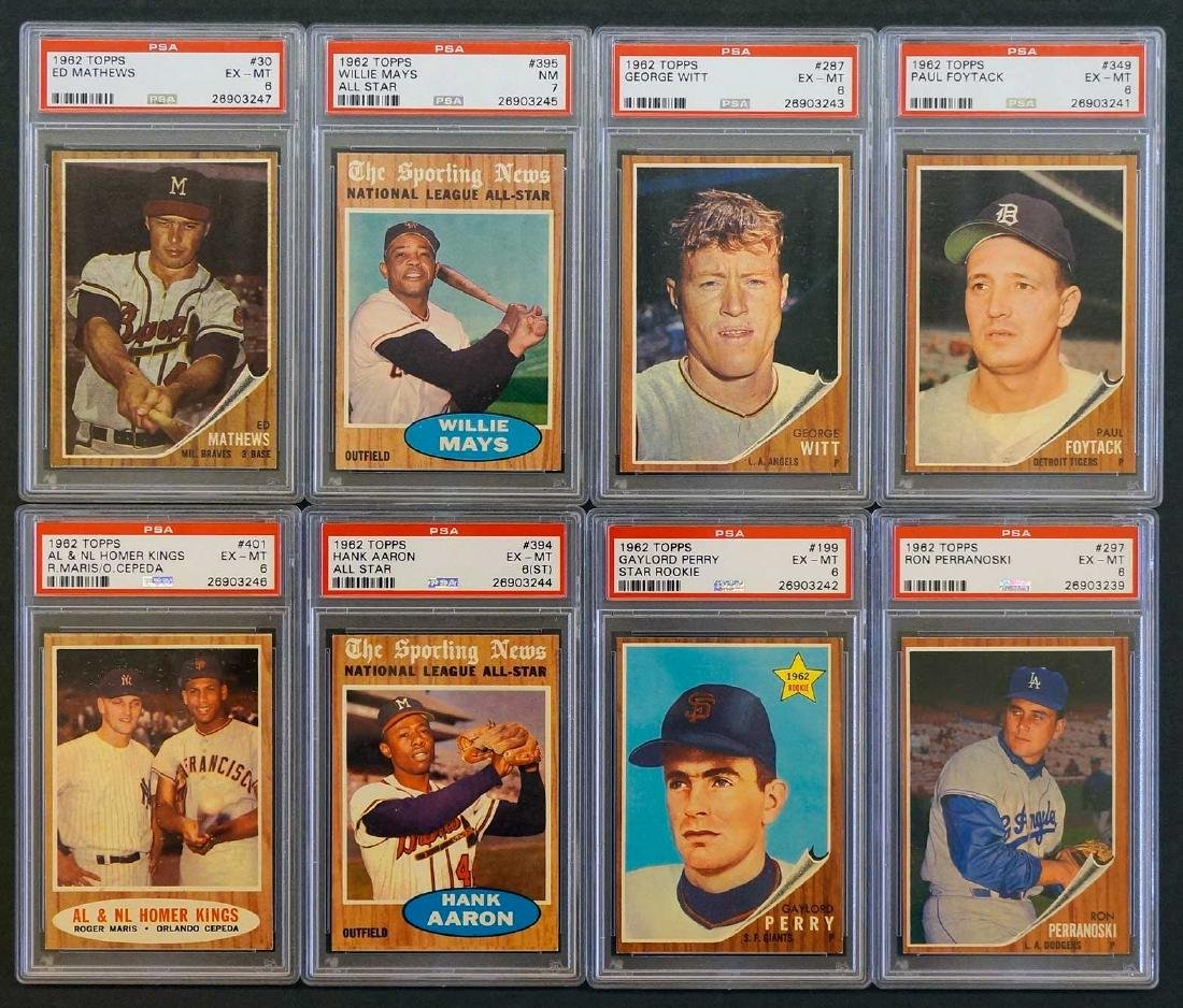 Group of Eight 1962 Topps Graded Cards