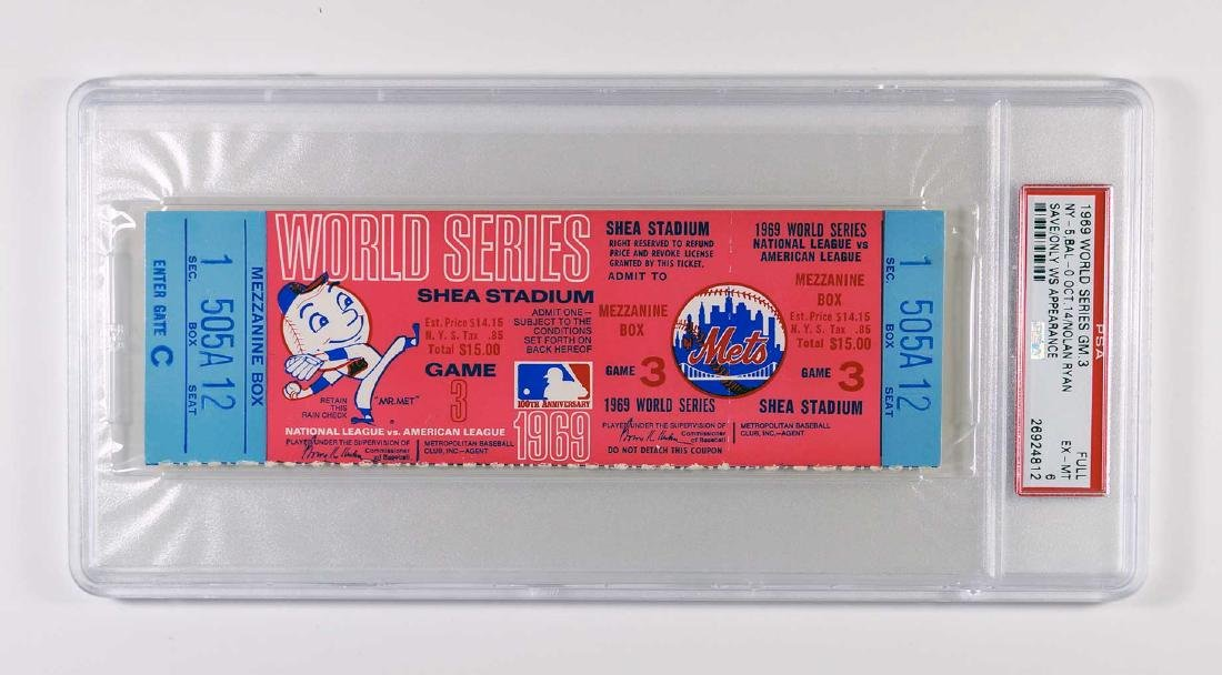 1969 World Series Full Ticket Game 3 PSA 6