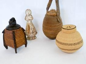 A Group Of Ethnic Baskets, Vessel And Carving