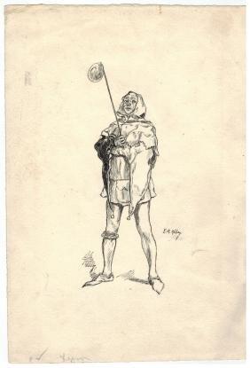 Edwin Abbey (1852-1911) Pen & Ink Drawing Of Clown