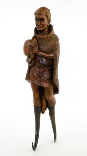 Black Forest Carved Coat Hook, 1881