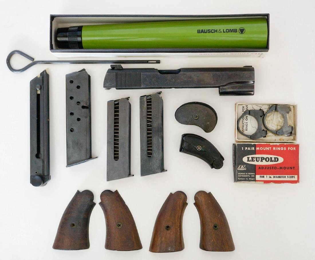 Group of Vintage Gun Parts, Grips, Magazines