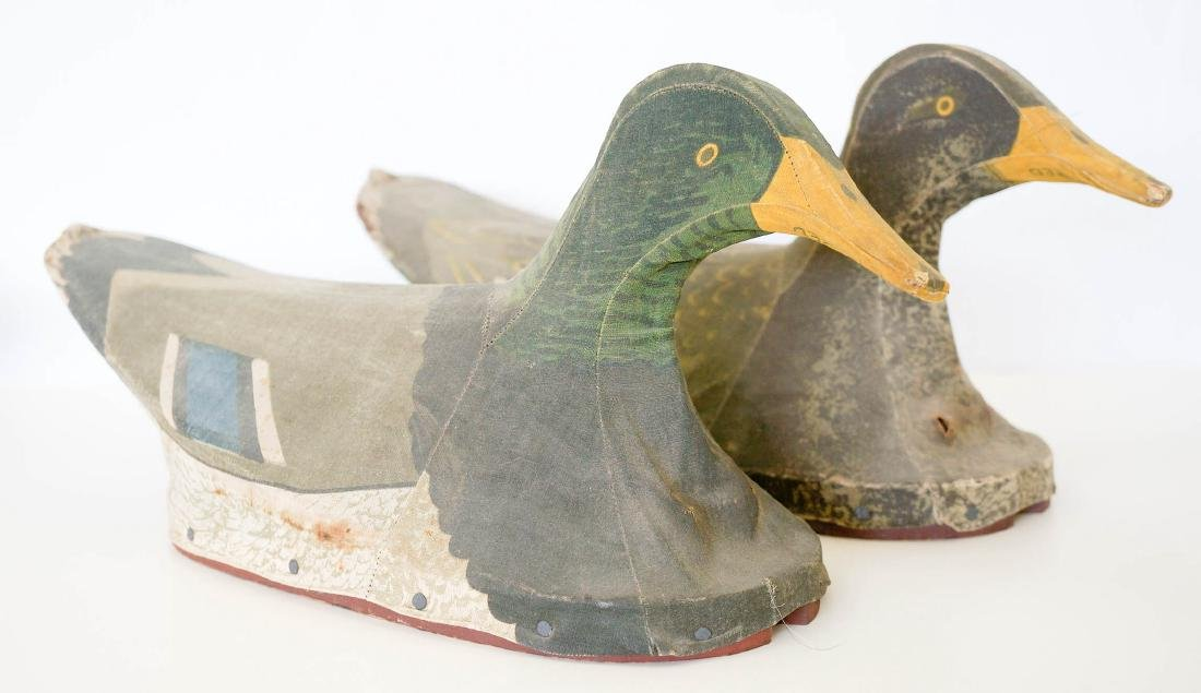 Two Canvas Mallard Duck Decoys by J.W. Reynolds.