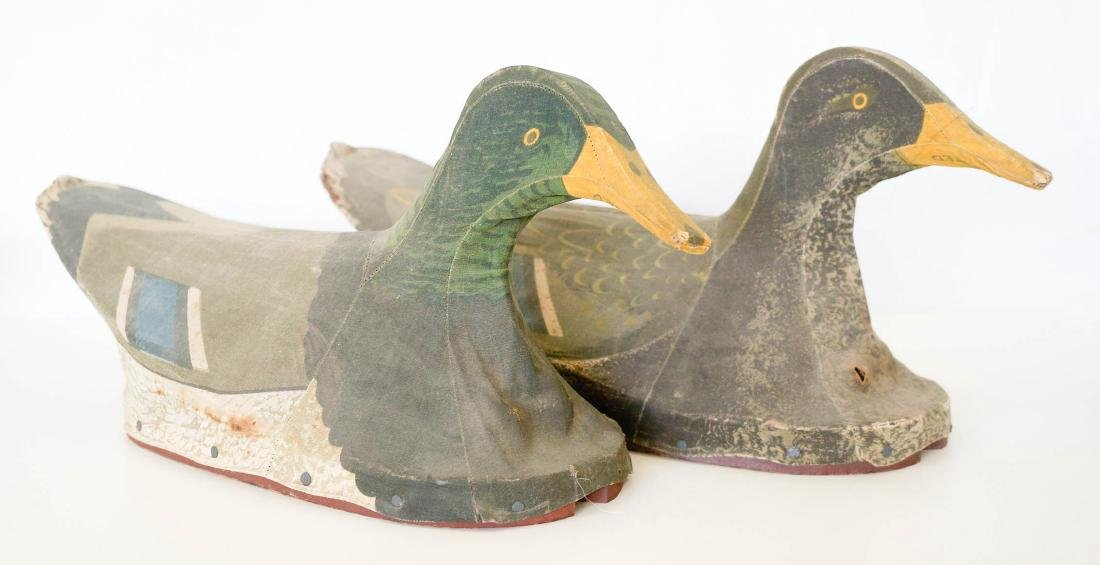 Two Canvas Mallard Duck Decoys by J.W. Reynolds. - 2