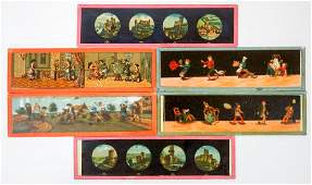 Thirty Four Antique Childrens Magic Glass Slides