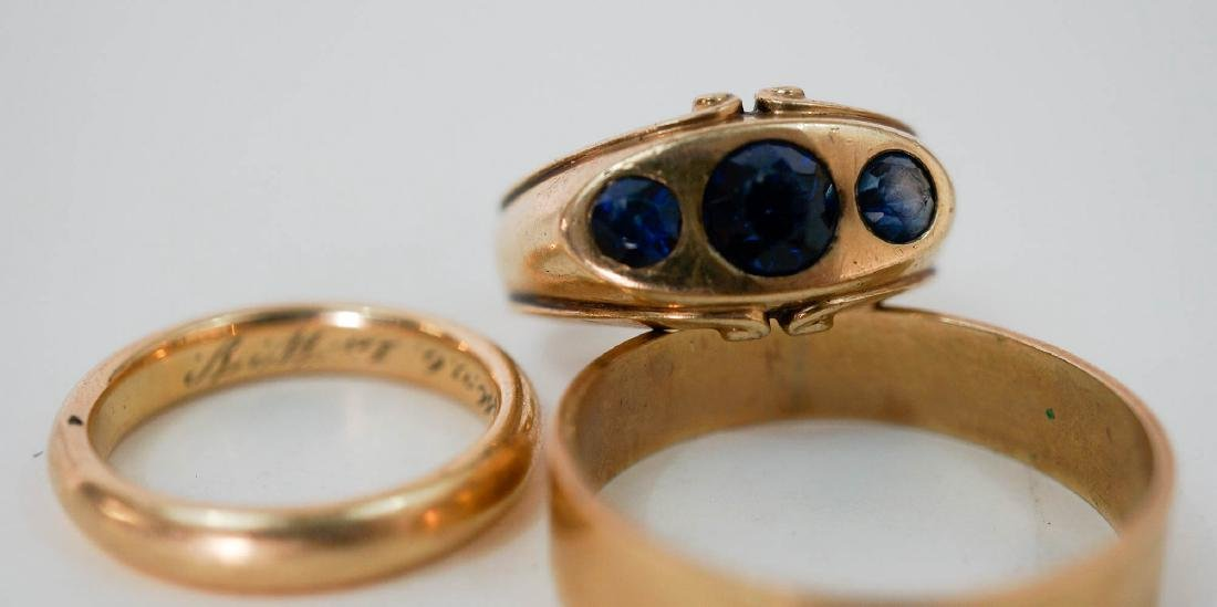 Three Gold Rings Two 14k Gold Bands and One 10k