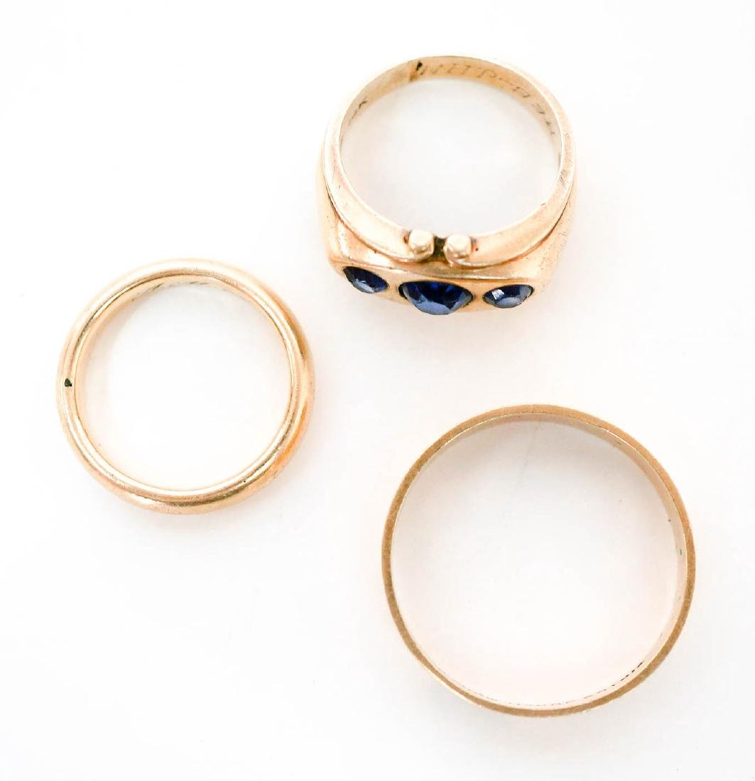 Three Gold Rings Two 14k Gold Bands and One 10k - 2