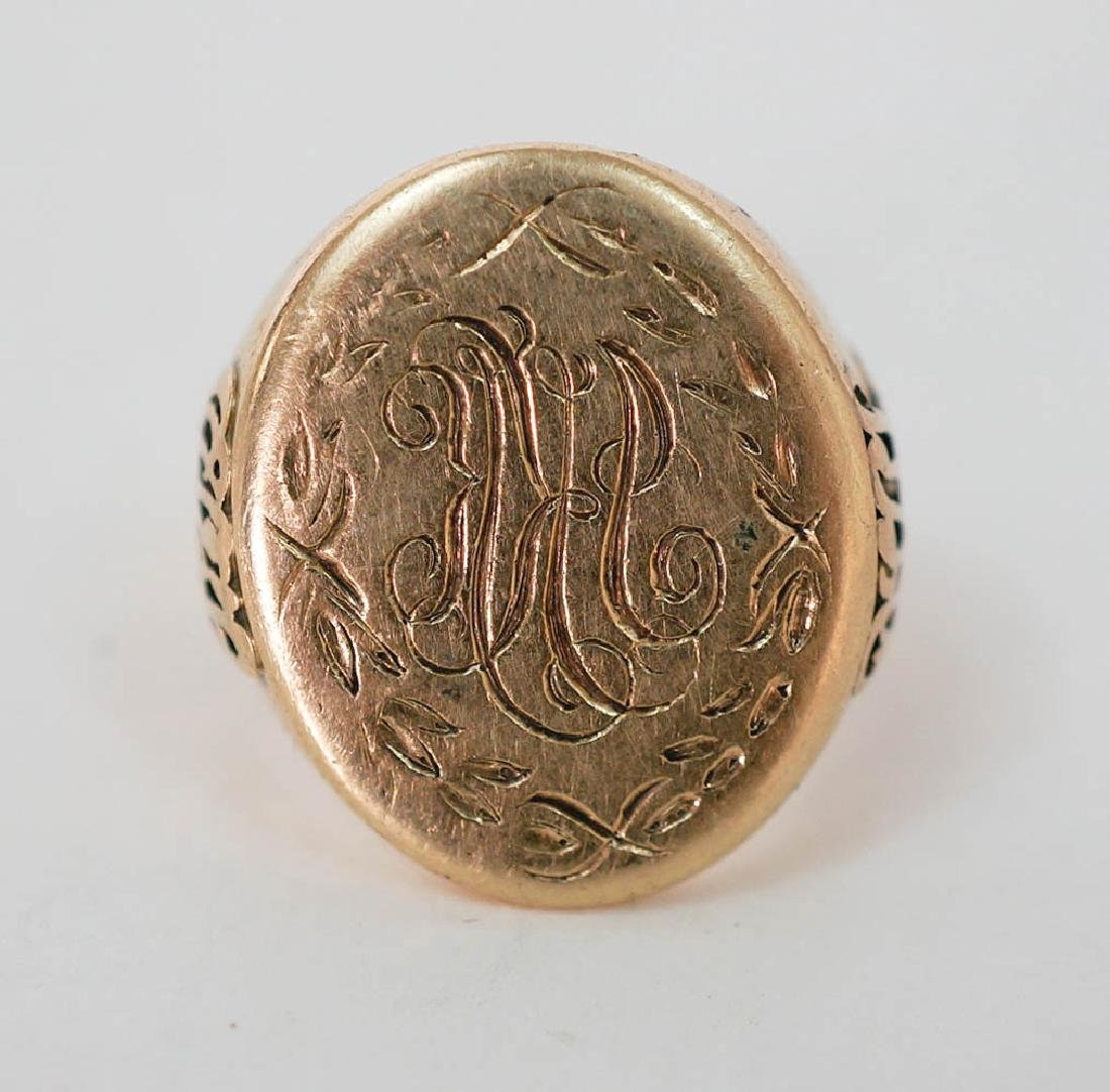 14k Gold Ring with Seal Pattern