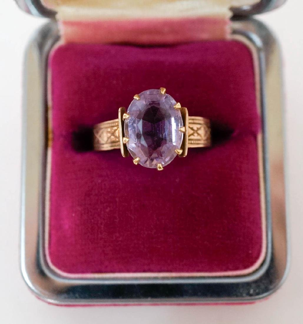 Antique 10k Gold Ring with Pink Stone