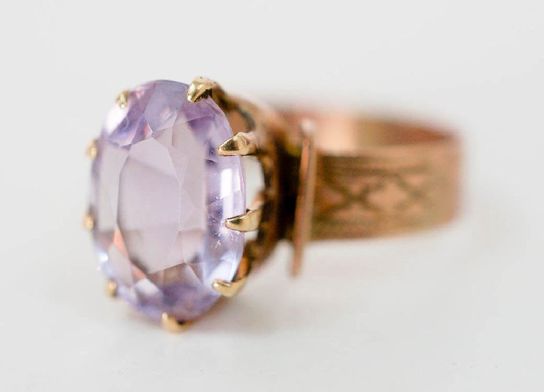 Antique 10k Gold Ring with Pink Stone - 2