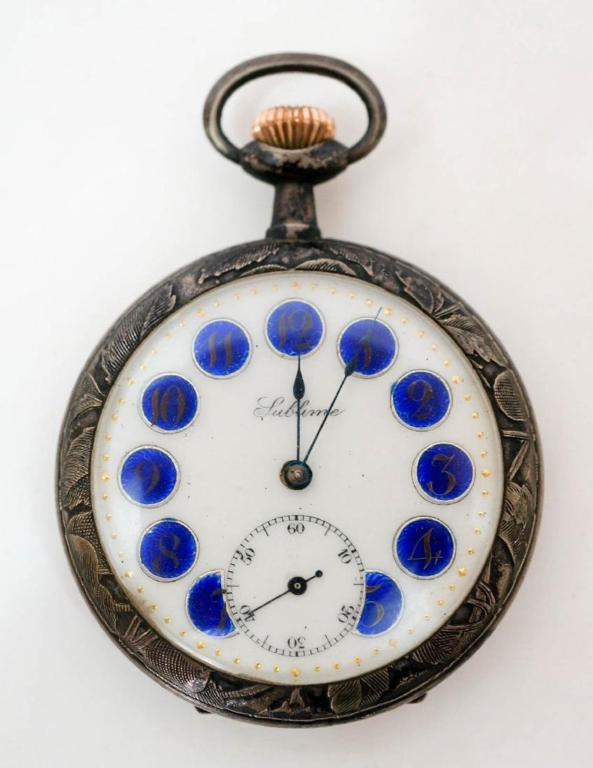 Sublime Antique Silver Enamel Pocket Watch