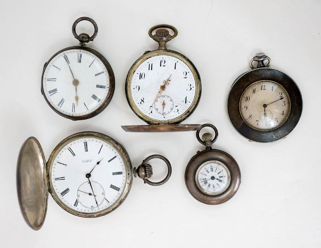 Five Antique Silver Pocket Watches