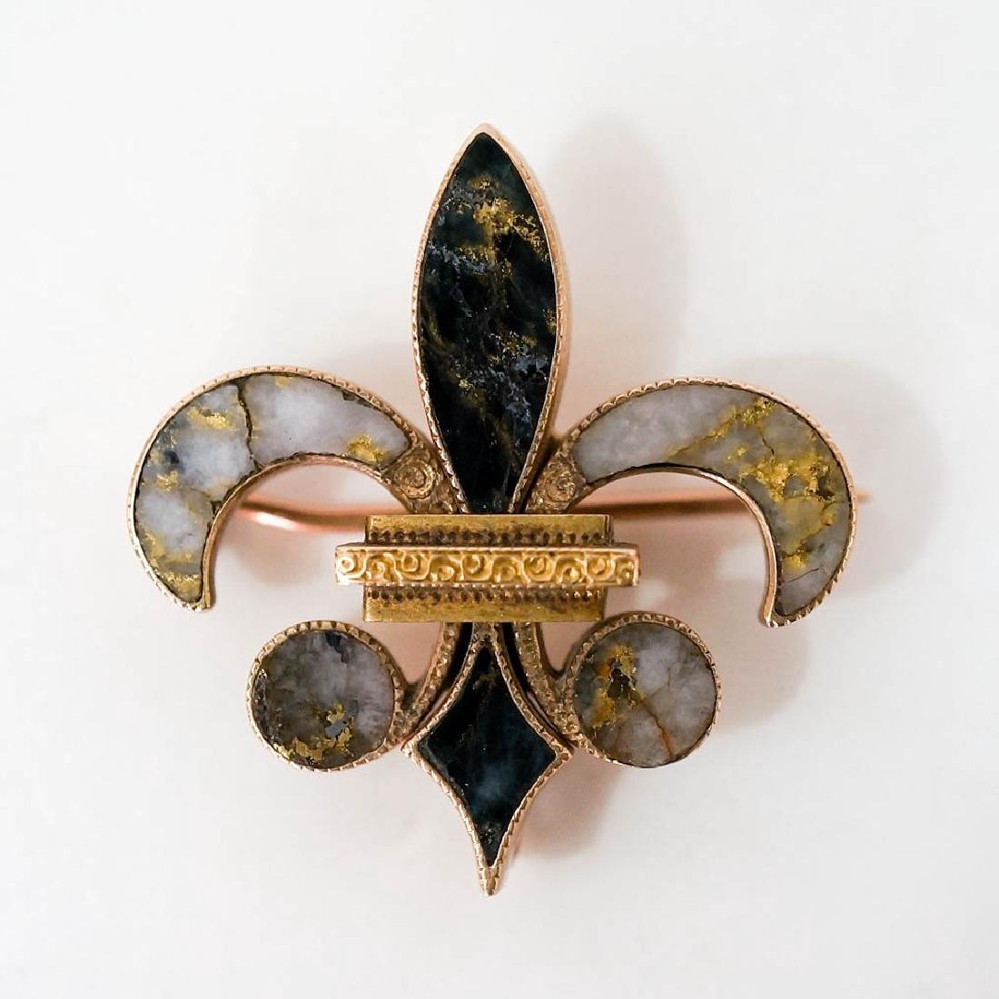 California Quartz in 14k Gold Fleur-de lis Pin