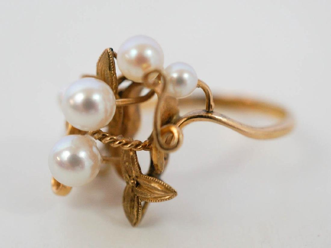 18k Yellow Gold Pearl Cluster Ring - 2