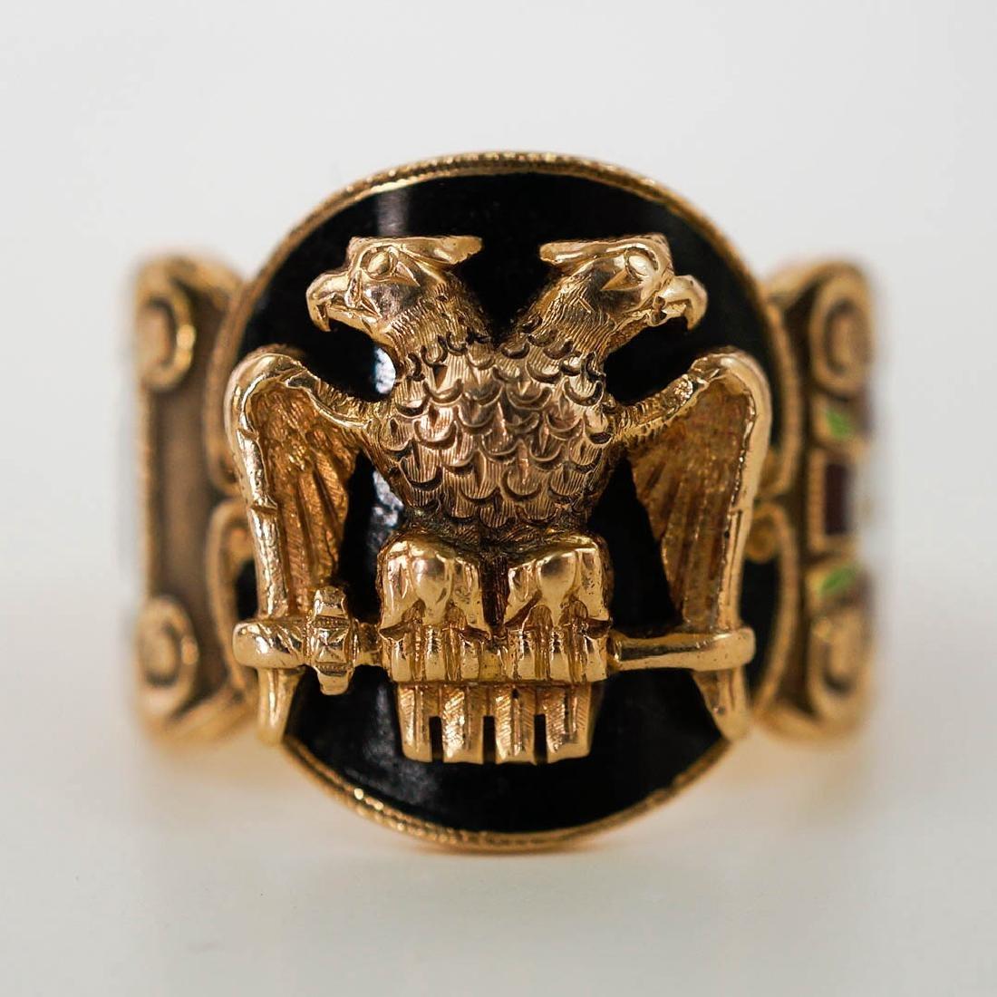 Vintage Masonic 14k Yellow Gold Enamel Ring