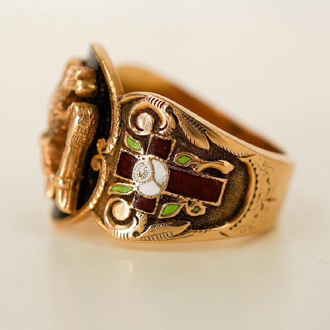 Vintage Masonic 14k Yellow Gold Enamel Ring - 2