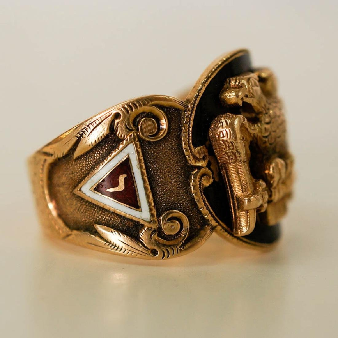 Vintage Masonic 14k Yellow Gold Enamel Ring - 3