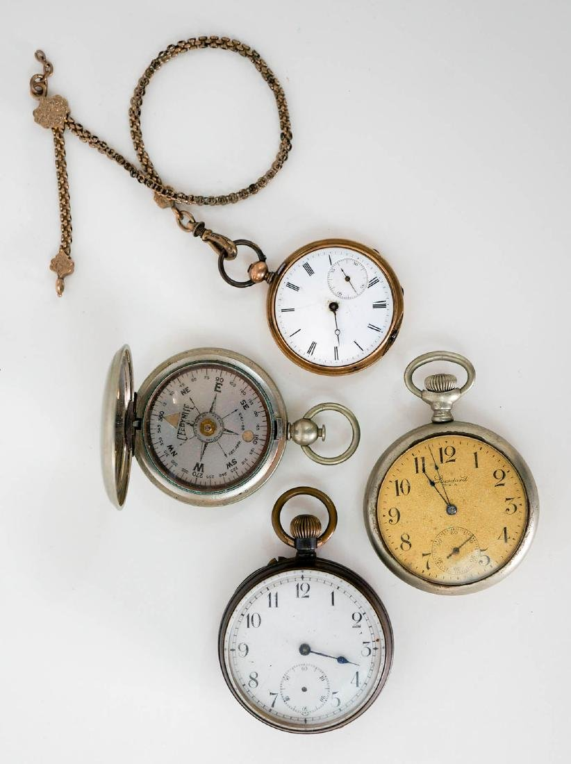 Three Pocket Watches and One Compass
