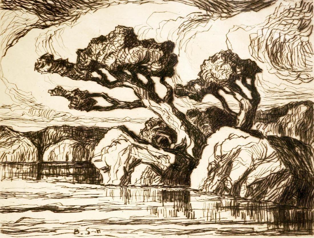 Birger Sandzen Signed Etching [Silent Waters]