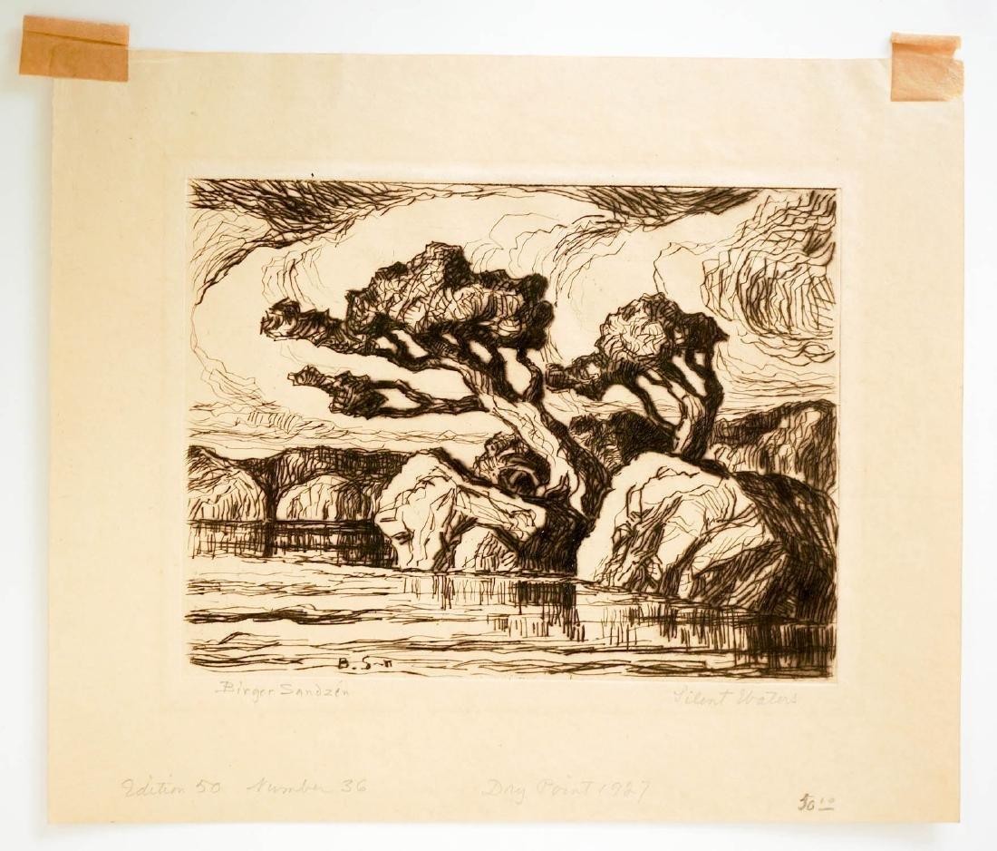 Birger Sandzen Signed Etching [Silent Waters] - 2