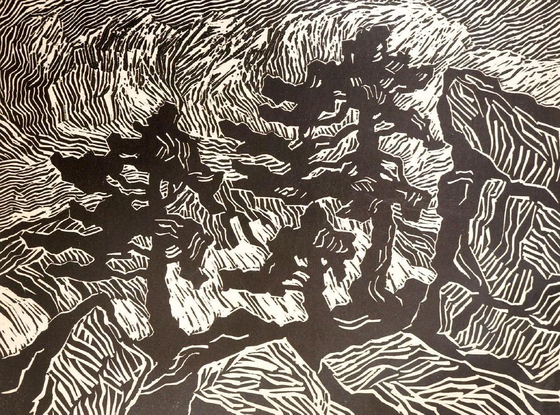 Birger Sandzen Signed Linocut Pines, Rocks, Snow