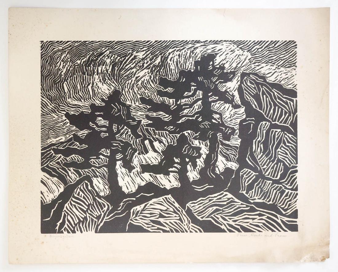 Birger Sandzen Signed Linocut Pines, Rocks, Snow - 2