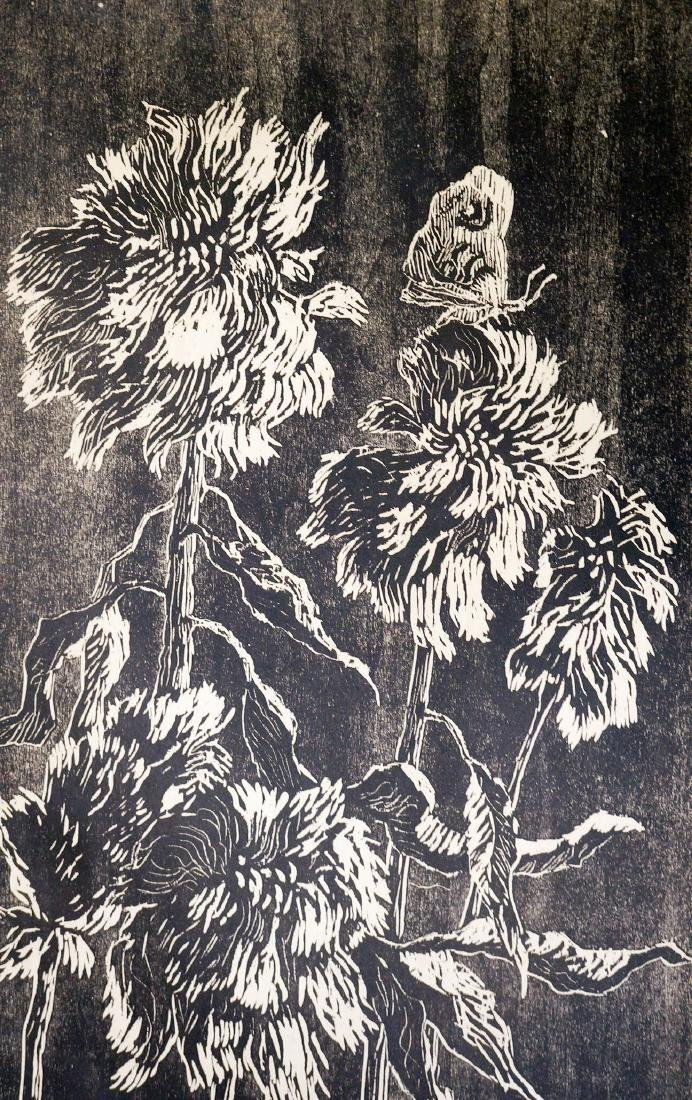 Birger Sandzen Signed Woodcut Chinese Woolflowers