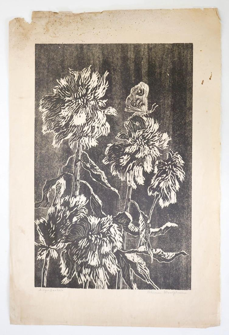 Birger Sandzen Signed Woodcut Chinese Woolflowers - 2