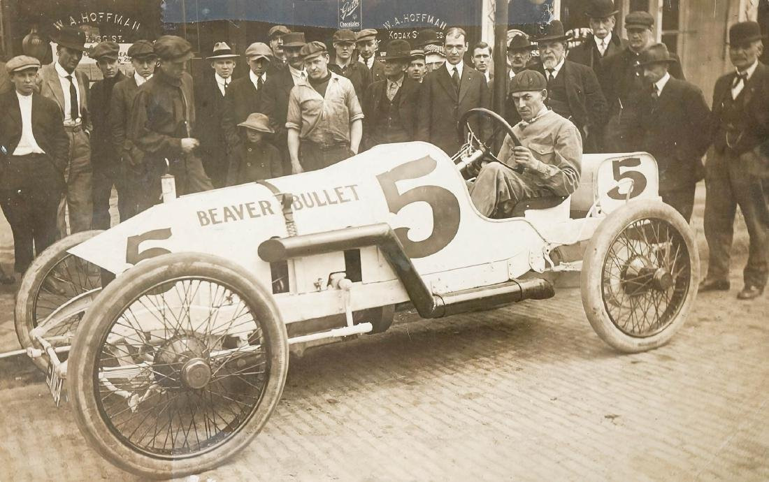 1914 Indy 500 RPPC Beaver Bullet Driver