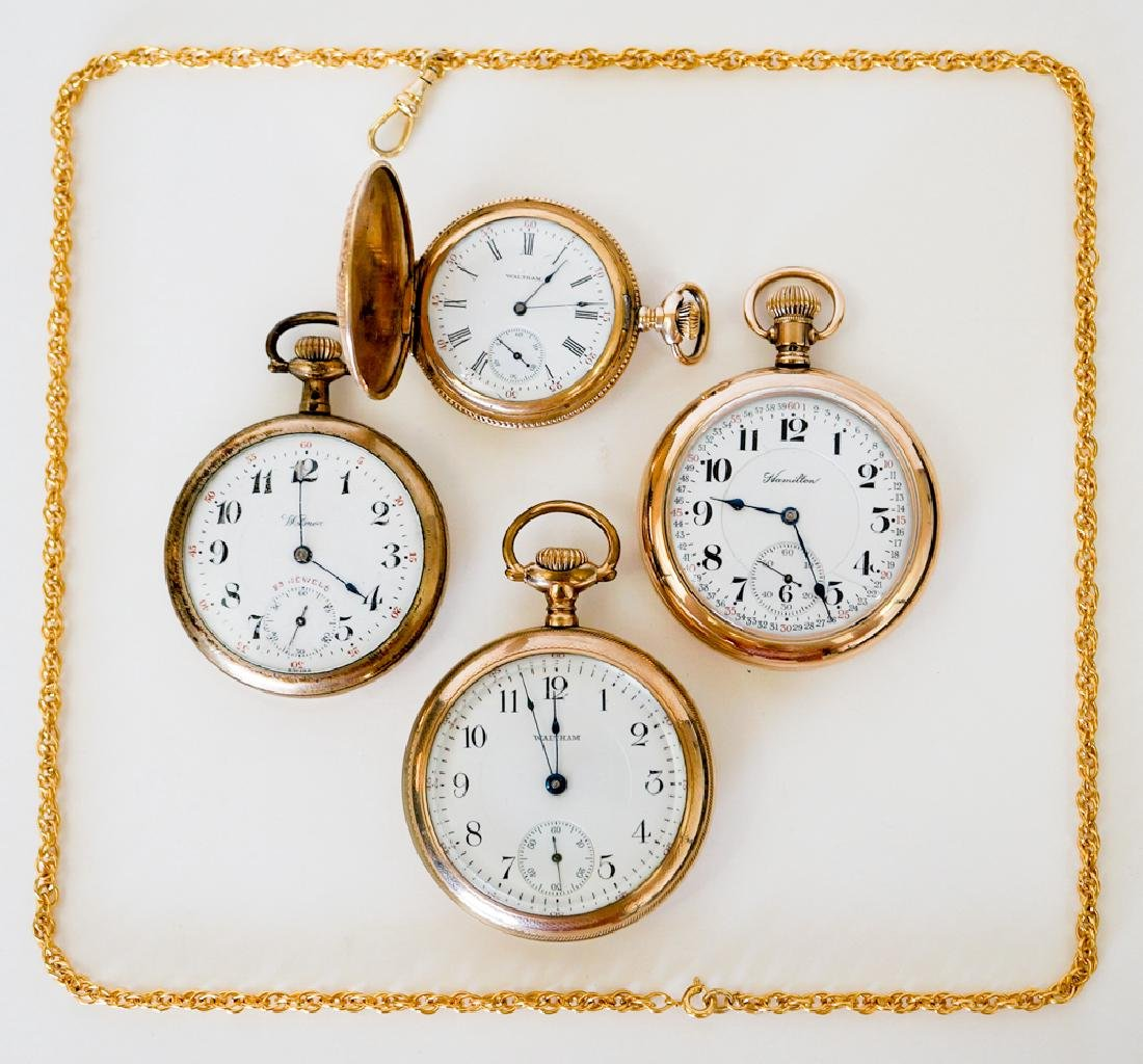 Four Gold Filled Pocket Watches and Chain
