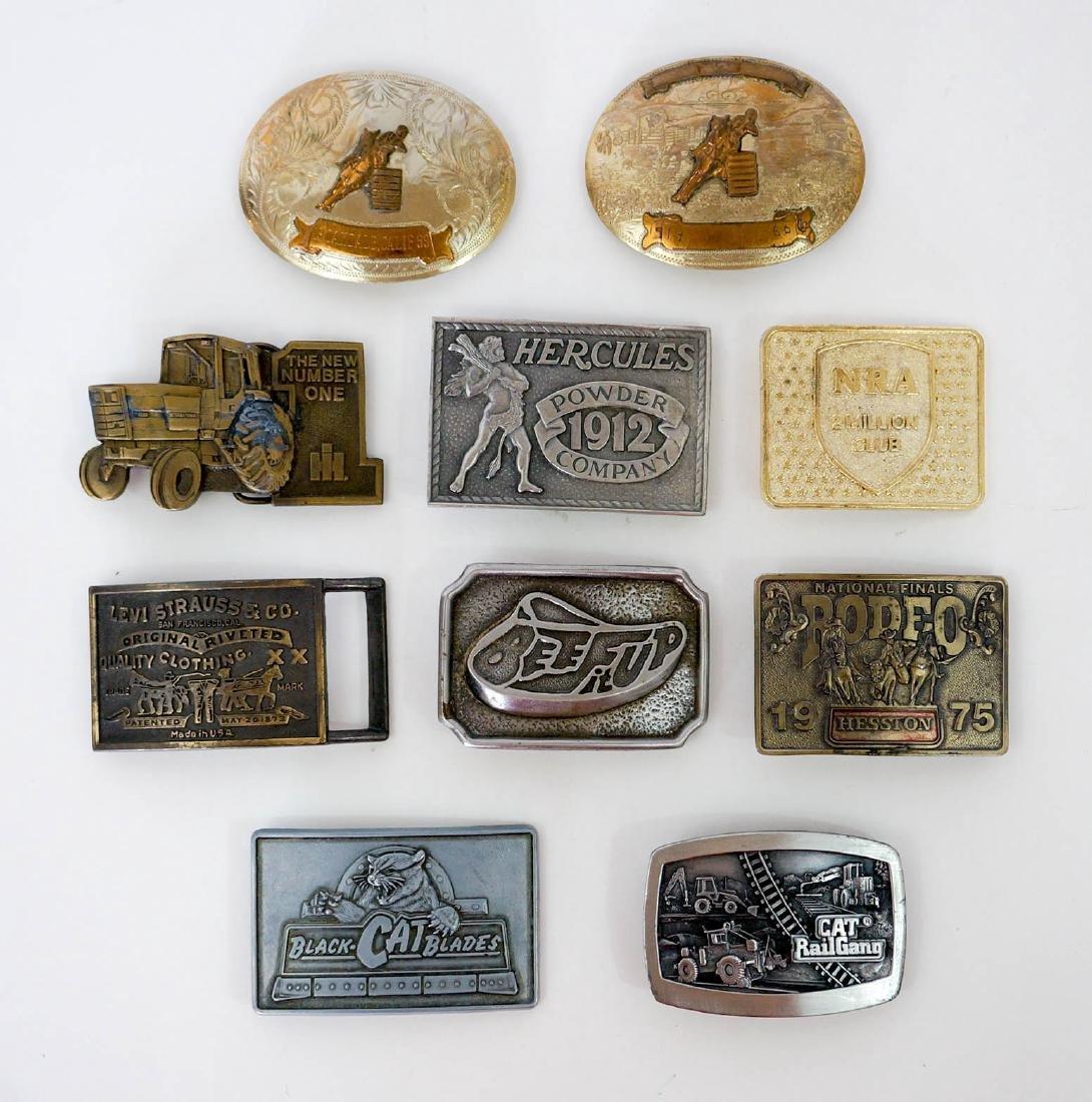 Group of Ten Vintage Advertising Belt Buckles